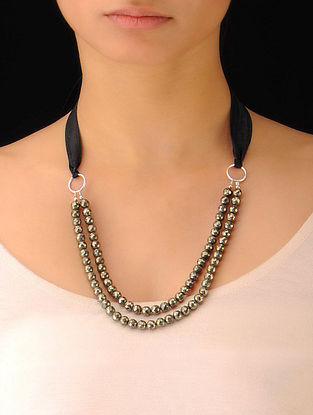 Pyrite Beaded Silver Necklace