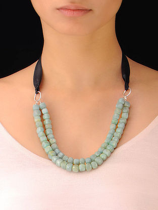 Amazonite Beaded Silver Necklace