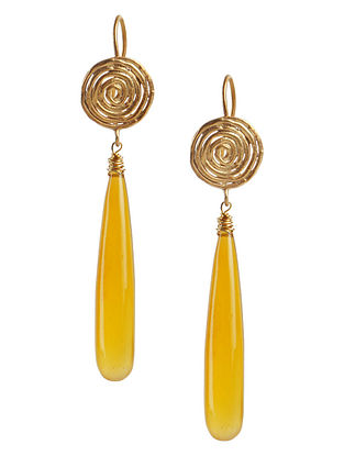 Yellow Chalcedony Gold Tone Silver Earrings