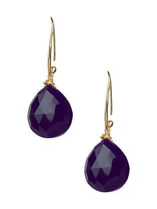 Purple Chalcedony Gold Tone Silver Earrings