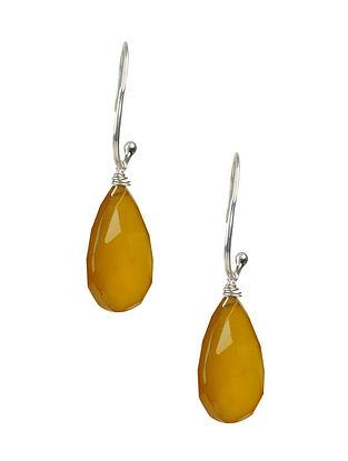 Golden Chalcedony Silver Earrings
