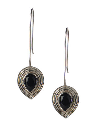 Pair of Black Onyx Silver Earrings