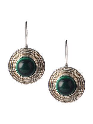 Pair of Malachite Silver Earrings
