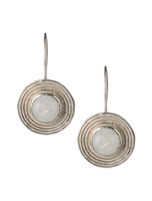 Pair of Rainbow Moonstone Silver Earrings