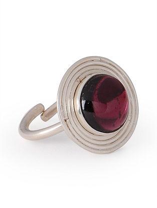Garnet Silver Adjustable Ring