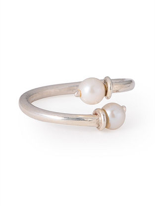 Simple Silver - Pearl Adjustable Ring
