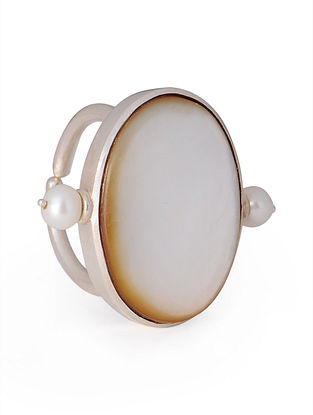 Mother of Pearl - Pearl Silver Adjustable Ring