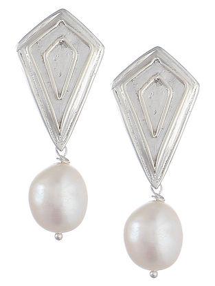 Geometric Silver Pearl Earrings