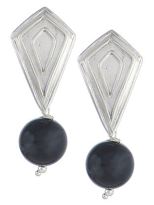Geometric Black Onyx Silver Earrings