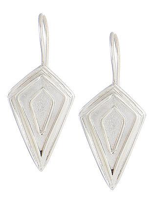 Geometric Silver Hook Earrings