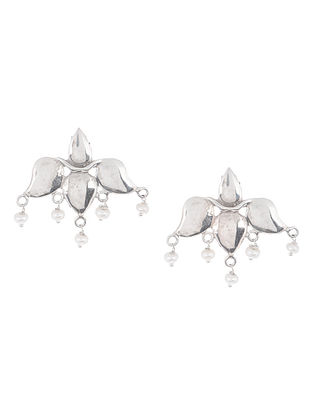 Lotus Pearl Silver Earrings