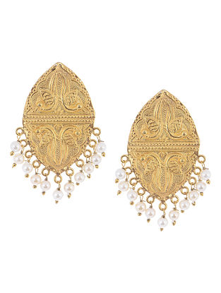 Embossed Peacock Silver Earrings