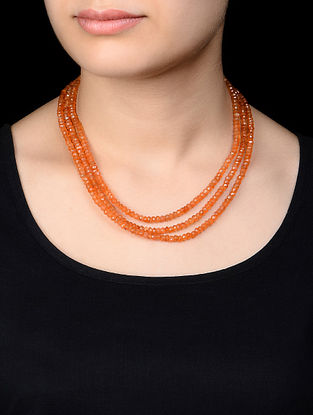 Three Strand Carnelian Silver Necklace