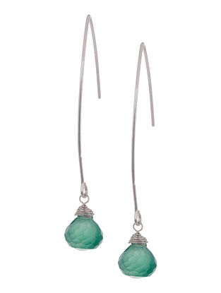 Green Onyx Drop Silver Earrings by Benaazir