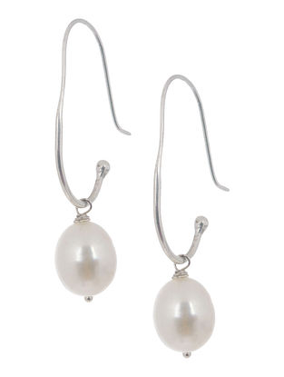Pearl Drop Silver Earrings by Benaazir