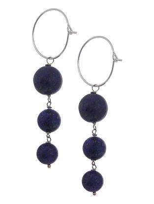Lapis Lazuli Hoop Silver Earrings by Benaazir