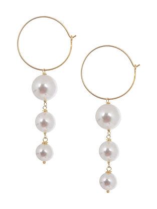 Pearl Hoop Silver Earrings by Benaazir