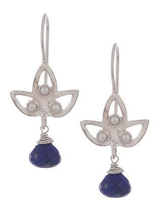 Lapis Lazuli Petal Silver Earrings by Benaazir