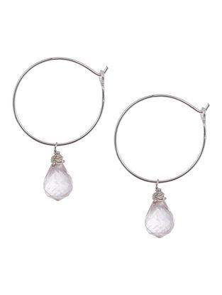 Rose Quartz Hoop Silver Earrings by Benaazir