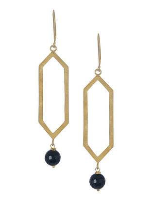 Black Onyx Geometric Silver Earrings by Benaazir