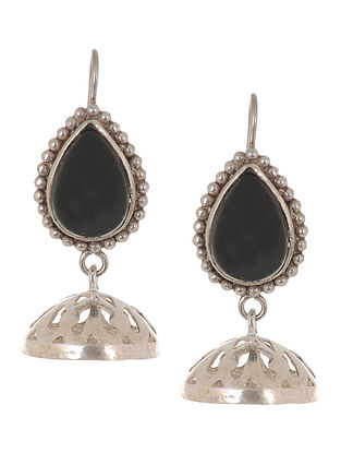 Classic Black Onyx Silver Drop Earrings