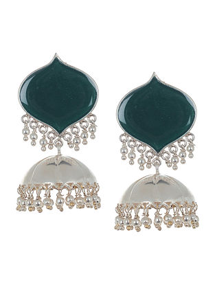 Classic Green Enameled Silver Drop Jhumkis