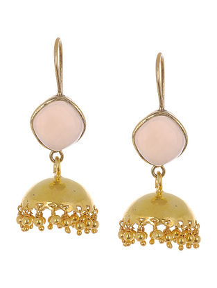 Ethno Pink Rose Quartz Gold Tone Silver Earrings