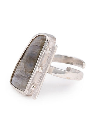 Labradorite Silver Adjustable Ring