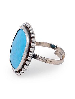 Blue Howlite Silver Adjustable Ring
