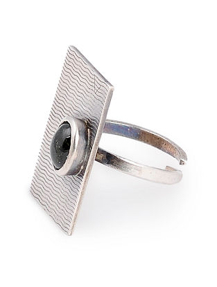 Black Tourmaline Textured Silver Adjustable Ring