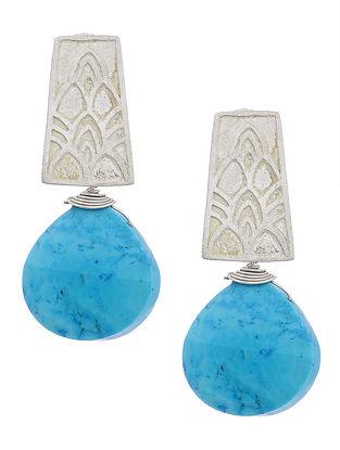 Howlite Oxidized Silver Earrings