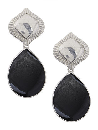 Black Enameled Silver Earrings