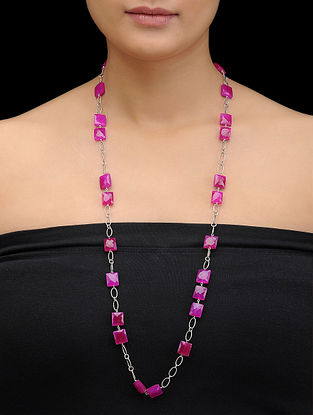 Pink Chalcedony Beaded Silver Necklace