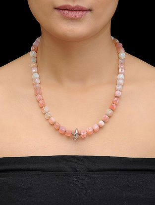 Pink Opal Beaded Silver Necklace