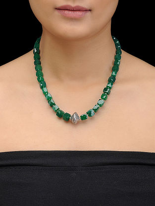 Green Onyx Beaded Silver Necklace