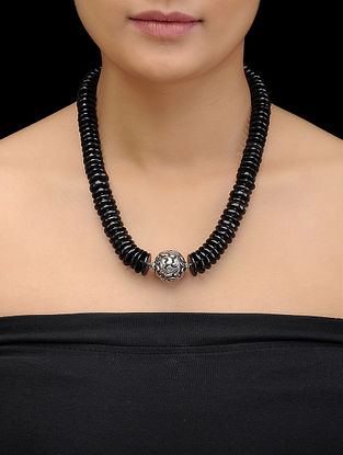 Black Onyx Beaded Silver Necklace