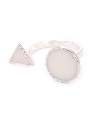 White Enameled Adjustable Silver Ring