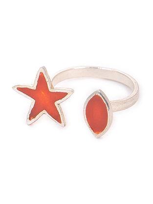 Orange Enameled Adjustable Silver Ring