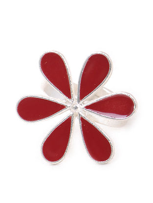 Maroon Enameled Adjustable Silver Ring with Floral Design
