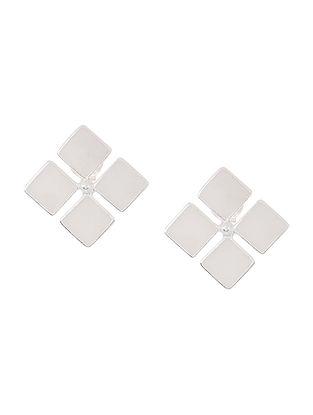 White Enameled Silver Earrings