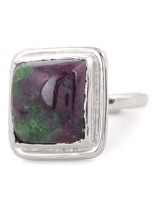 Ruby Zoisite Silver Adjustable Ring