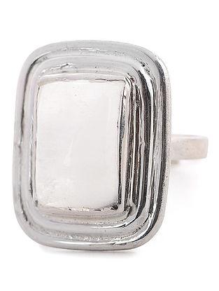 Rainbow Moonstone Silver Adjustable Ring