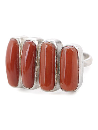 Coral Silver Adjustable Ring