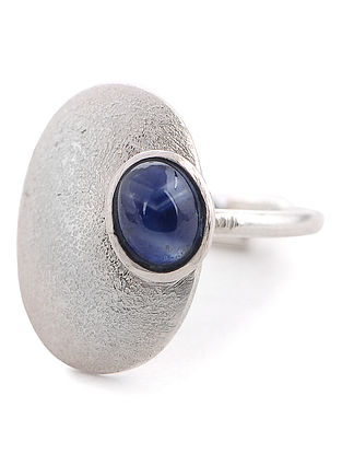Sapphire Silver Adjustable Ring