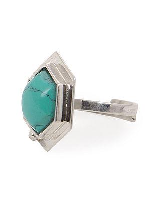 Howlite Adjustable Silver Ring