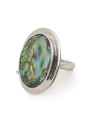 Abalone Shell Adjustable Silver Ring