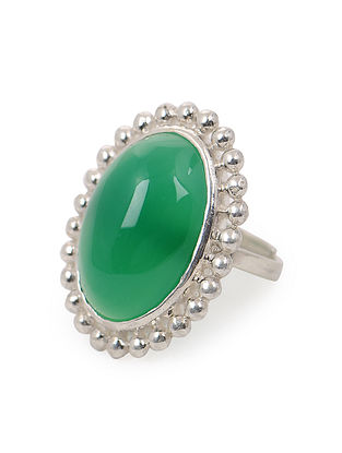 Green Onyx Adjustable Silver Ring