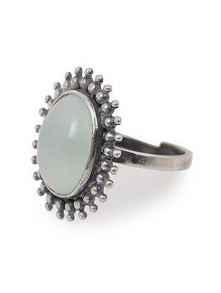Aqua Chalcedony Adjustable Silver Ring