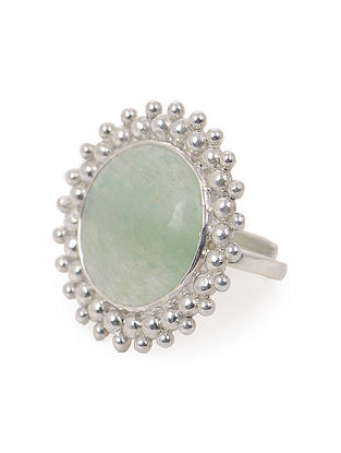 Jade Adjustable Silver Ring