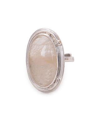 Golden Rutilated Quartz Adjustable Silver Ring